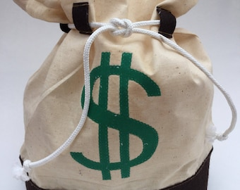 Money Bag - Muslin and Felt with Dollar Sign, second quality