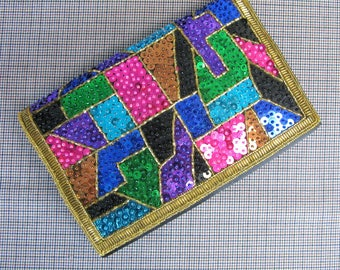Vintage 1980s Sequin Clutch 80s Colorful Color Block Sequin Evening Clutch by Magid