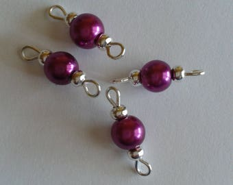 5 connectors 6mm magenta glass pearl beads