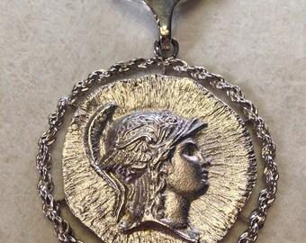 Large Goddess of War Athena Greco-Roman Cameo Profile Statement Necklace