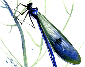 Dragonfly art Painting, original watercolor 8 x 6 in, BLUE GREEN  wall art