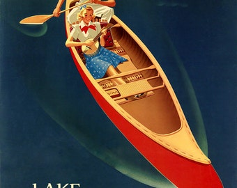 """Lake Winnipesaukee 16""""x20""""  U.S.  New Hampshire Vintage Poster Repro on Paper or Canvas FREE SHIPPING in USA"""