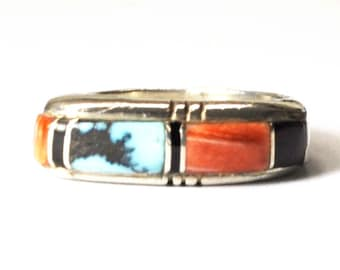 Sterling Silver Turquoise Onyx Coral Stackable Band 7mm Size 8.5