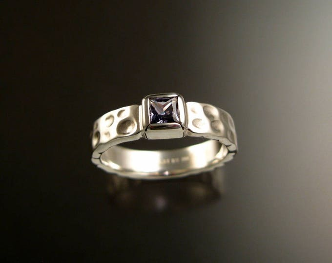 Sapphire square Moonscape ring handcrafted in Sterling Silver Violet colored untreated Sapphire made to order in your size.