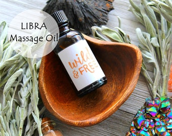 Libra Massage Oil, Clary Sage Lemon Geranium Bourbon Essential Oil Mix, Aromatherapy, Antidepressant, Meditation, Vitamin A, Spa Skin Care