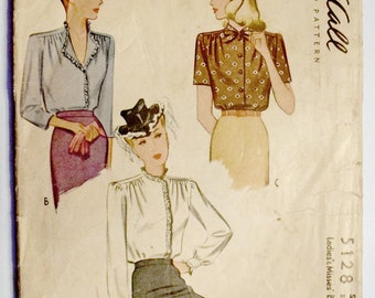 McCall's 1940s Blouse Sewing Pattern Size 14 Bust 32
