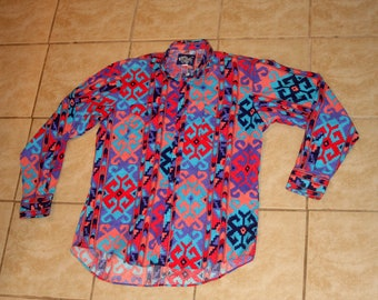 Wrangler Bright Multi Color All Over Print Western Button Up Small Shirt Vintage 1990s