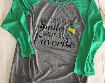 I just like to smile smiling's my favorite Elf Christmas shirt baseball style raglan tee t-shirt
