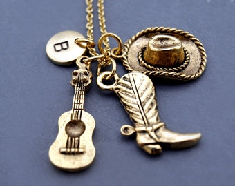 Cowboy hat and boot necklace, Cowgirl hat and boot necklace, Guitar necklace, Western theme, best friend necklace, personzlied