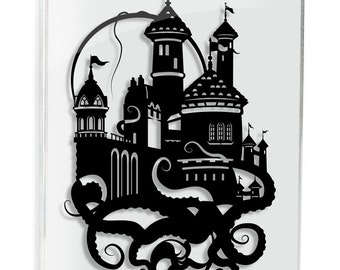 Little Mermaid Prince Eric's Castle // silhouette hand cut paper craft framed wall decor unique art disney inspired artwork FRAMED