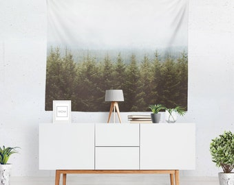 Forest tapestry, wall hanging, mountain home decor, nature wall art