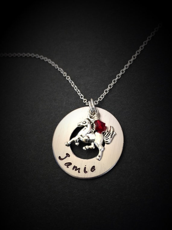 Hand stamped horse necklace personalized horse necklace for How do you make hand stamped jewelry