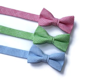 Boys Linen Check Bow Ties~Boys Bow Tie~Boys Plaid Bow Ties~Cotton Bow Tie~Navy Bow Tie~Church Tie~Plaid Bow Tie~Wedding~Ring Bearer~Gift