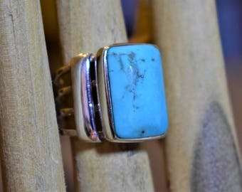 Natural Large Turquoise and Silver Ring, size 7