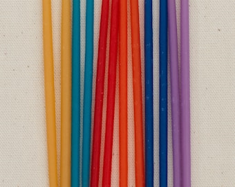 Tall Beeswax Birthday Candles - Primaries