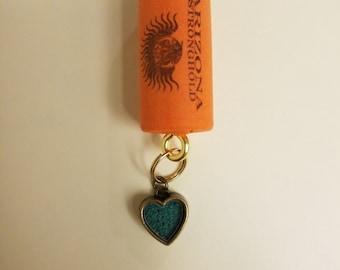 Wine Cork Keychain - Heart charm