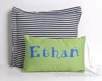 Personalized Boys Name on Pillow Mini 8 X 12 Apple Green Royal Blue Hand Painted Made in Canada