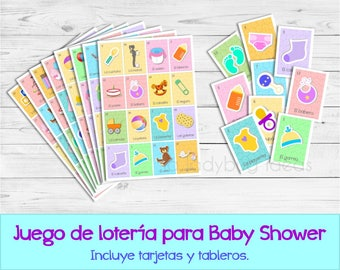 Baby loteria. Lotería para baby shower. Mexican lottery game for baby shower in Spanish. Bingo for baby shower Spanish. Juegos baby shower.