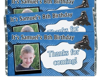 Roller Skate Birthday Party Candy Wrappers - fit over 1.55 oz chocolate bars, Roller Blade Birthday Party Favor
