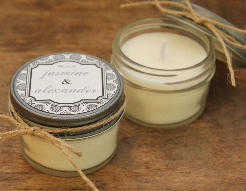 Set of 12 4 oz Soy Candle Wedding Favors West Label Design