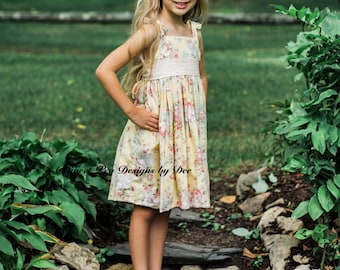 Girls vintage style dress, toddler dress, yellow vintage style dress, floral girls dress, girls sundress, summer dress, party dress,