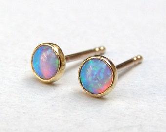 Opal Studs Earrings, 14k Solid gold Earrings, Opal Studs, Opal Earrings, Handmade stud Earrings, Girl's gift, birthday gift, mom gift