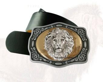 Boucle de ceinture tête Lion antique en argent incrusté de boucle en métal peinte à la main en émail brillant or Safari néoclassique avec Options de couleur assortie