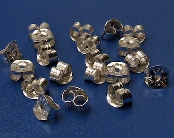 Findings - 925 Sterling Silver Locking Ear Nuts for Post backs - Medium Weight - Quantity 20