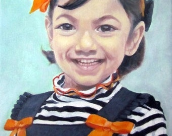 Original Custom Portrait Painting from your photo, oil painting on canvas, child portrait, example little girl with ribbons