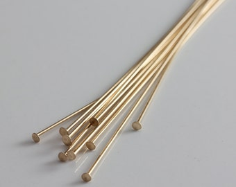 Gold Filled Headpins Flat Head 24ga 2 inches - Select Pack Size