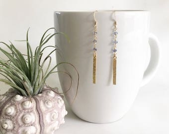 Purple Iolite Gemstone Rosary Chain and Bar Drop Earring, Gold Fill