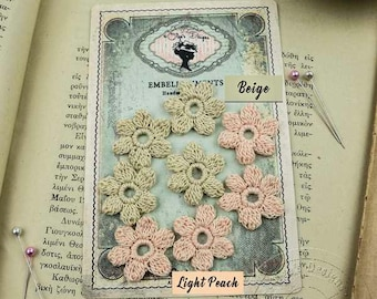Crochet Flowers with 100% cotton yarn - French Vintage Style -Beige - Light Peach