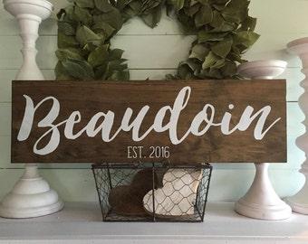 last name sign, family sign, family name sign, wedding gift, wood sign, established wood sign, wooden sign, custom sign,