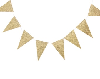 Gold Glitter Wedding Garland, Gold Pennant Banner, Gold Glitter Pennant, triangle Banner, Birthday Party Banner, Baby Shower Bunting, LFP006