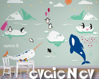 Baby Wall Stickers - Orca Whale and Narwhal with Polar Friends Vinyl Decals - Arctic and Antarctic Animals - PLRFR010