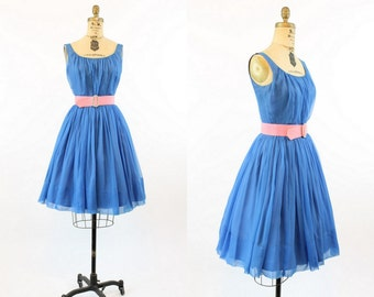 50s Dress Chiffon XS / 1950s Vintage Party Dress / Blue Skies Frock