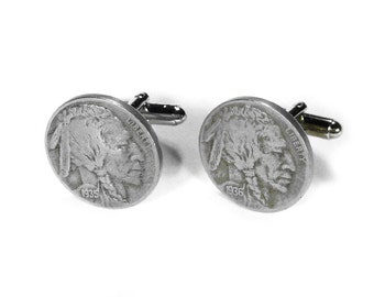 INDIAN HEAD Nickel Cufflinks 1930s Steampunk Cuff Links Vintage Coin Cuff Links Anniversary Fathers Day Dad - Jewelry by Steampunk Boutique