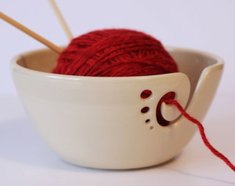White Ceramic Yarn Bowl, Yarn Bowl, Knitting Bowl, Crochet Bowl, Pottery Yarn Bowl, Made to Order