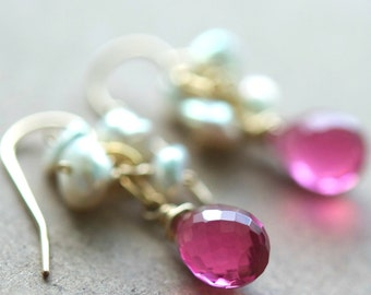 Luna Earrings, Choose Your Color Gemstone, Ruby Sapphire Quartz, Natural Keshi Pearls on 14K Gold Fill Ear Wires, July Birthstone