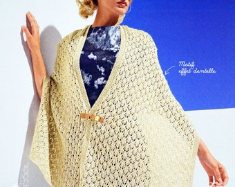 Tutorial openwork shawl color mother of Pearl women