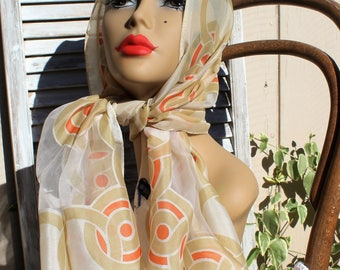 Vintage. Orange/white/sheer/circles/long scarf. 1960s/1970s. Groovy scarf!