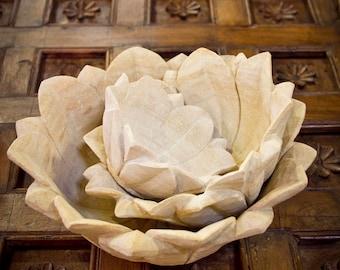 Set of 3 Sandstone Lotus Bowls, Stone Bowls, Lotus bowls, Lotus Flower, stone bowls, fruit bowls, decorative bowls, Artisanal bowl