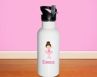 Ballerina Kids Water Bottle - Ballet Class Ballerina Crown with Name, Child Personalized Stainless Steel Bottle BPA Free Back to School
