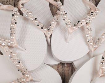 Wilomena Bridal Flip Flops, Custom Flip Flops, Gem Pearl  Dancing Shoes, Bridal Sandals, Wedding Flip Flops, Beach Wedding Shoes