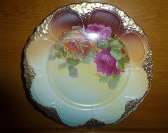 VINTAGE German Art Nouveau Victorian Roses China Plate with Beautiful Pink  Red Roses Gold Gilt Porcelain C Wilms
