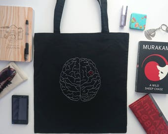 Always on my mind bag Hand embroidered tote bag Black cotton bag Canvas bag Hand embroidered anatomical brain red heart Ready to Ship