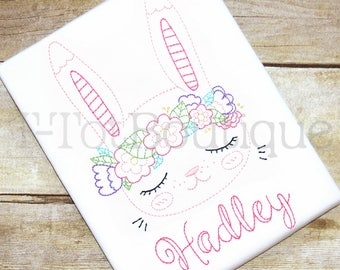 SALE - Vintage Stitch Easter Bunny with Flower Crown Embroidered Shirt or Bodysuit Spring Girls Easter Shirt - FREE PERSONALIZATION