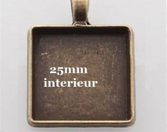 4 square cabochons 25mm pendants
