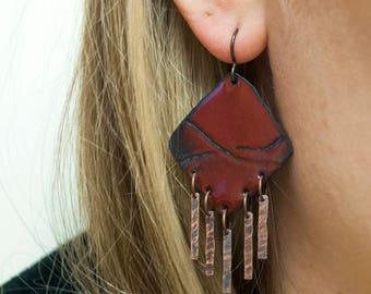Maroon Enamel Copper Tassel Earrings