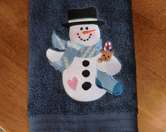 Embroidered Terry Hand Towel - Christmas - Snowman W/Stocking - Navy Towel